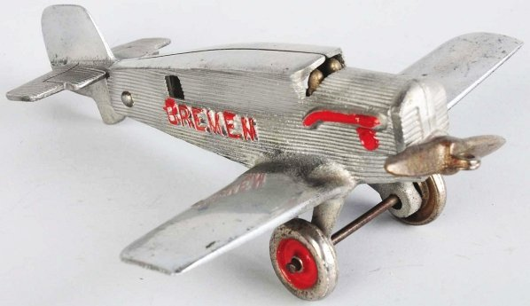 115: Rare Aluminum Hubley Breman Airplane Toy.