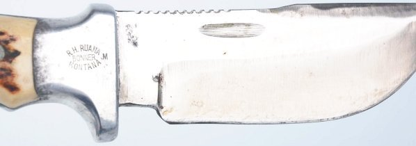 657: R.H. Ruana Bonner Montana Saw Back Knife. - 2