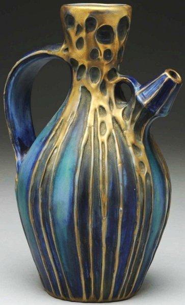 8: Secessionist Style Amphora Ceramic Pitcher.