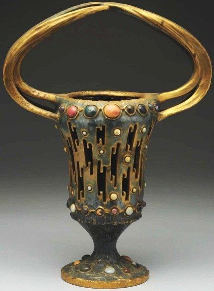15: Amphora Gres-Bijou Reticulated Lightning Rod Vase