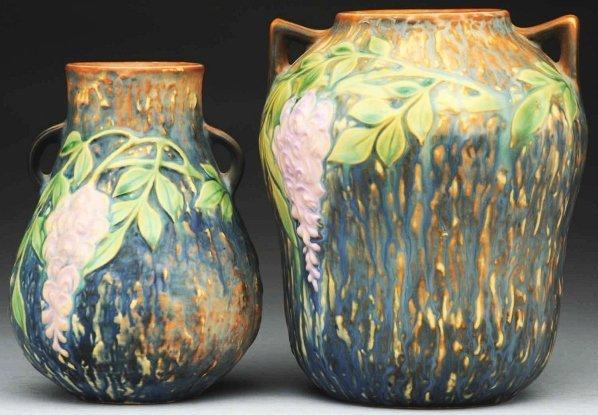 228: Lot of 2: Roseville Wisteria Vases.