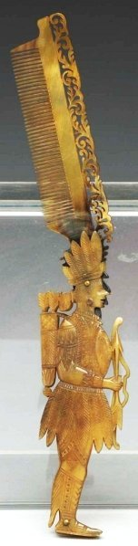 602: Early Celluloid Figural Indian Comb.