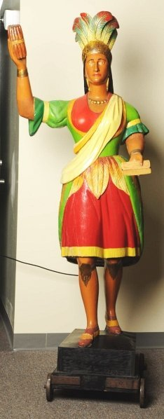 606: Beautiful Carved Maiden Cigar Figure.