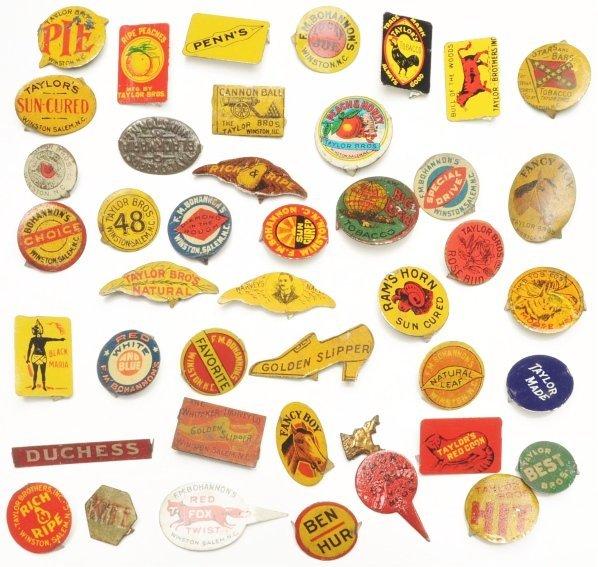 608: Lot of 39: Metal Advertising Pins.