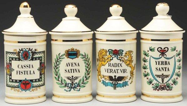 610: Lot of 4: Apothecary Pharmacy Jars.