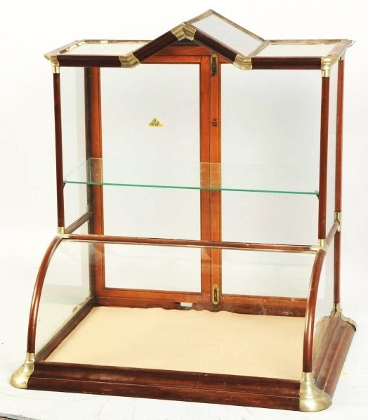 617: Steeple Top Curved Glass Display Case.