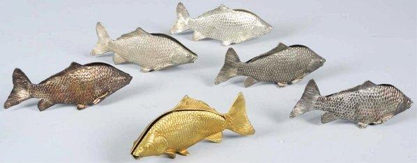 623: Lot of 6: Metal Fish Napkin Holders.