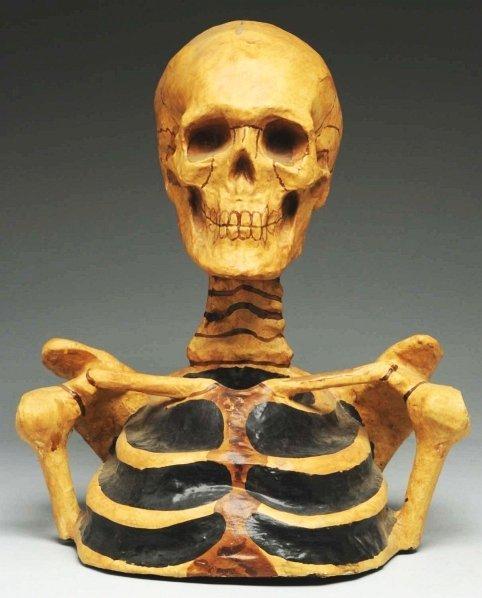 697: Odd Fellows Paper Mache Skeleton Bust.