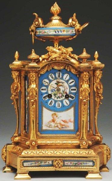 964: French Enamel Bronze Clock.