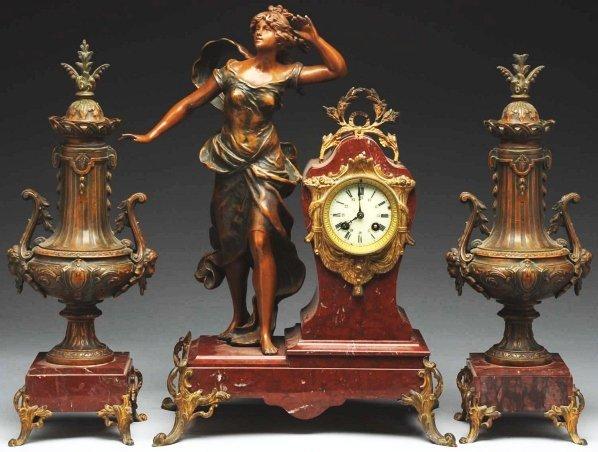 965: French Bronze Time & Strike Clock.