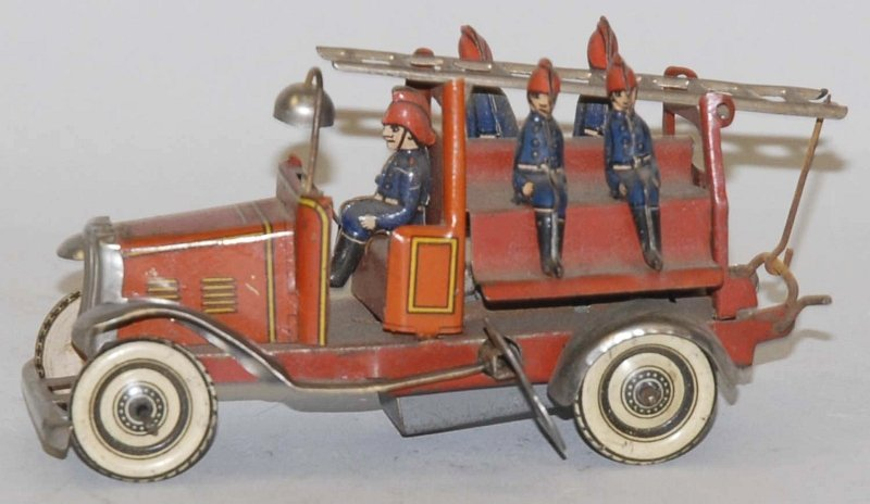 1: German Tin Litho Wind-Up Fire Ladder Truck Toy.