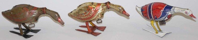 7: Lot of 3: Tin Litho Marx Wind-Up Goose Toys.