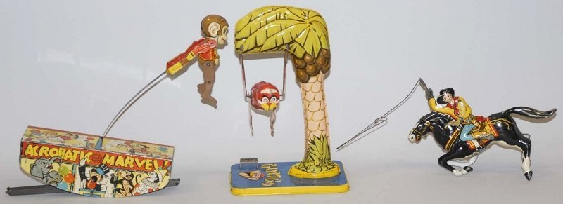 11: Lot of 3: American Tin Litho Wind-Up Toys.