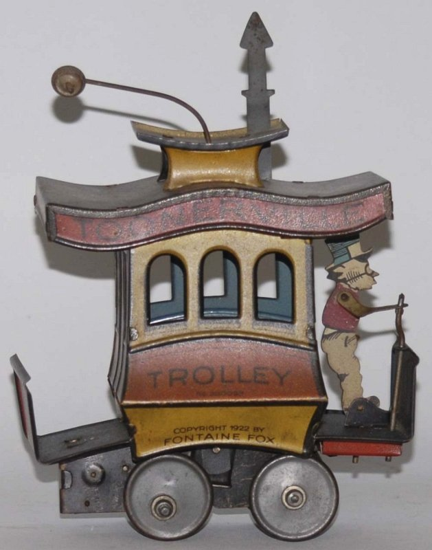 16: German Tin Litho Wind-Up Toonerville Trolley Toy.