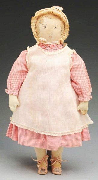 """1: Vintage Moravian Cloth """"Polly Heckewelder"""" Doll."""