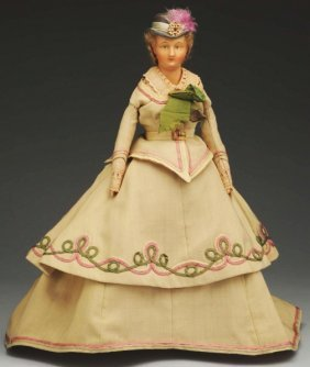 12: Rare German Wax over Lady Doll.