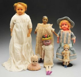 Lot Of 5: Wax Dolls.