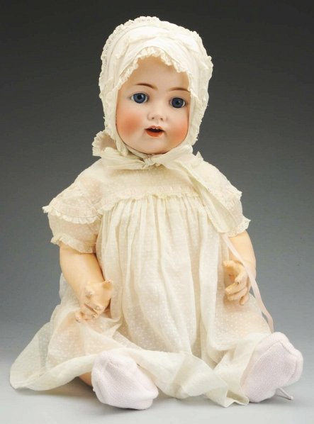 607: Life-size German Bisque Character Baby Doll.