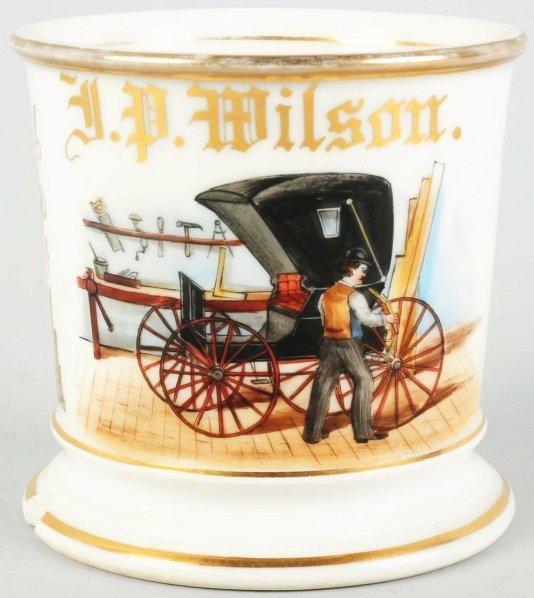 11: Carriage Wheel Repairman Shaving Mug.
