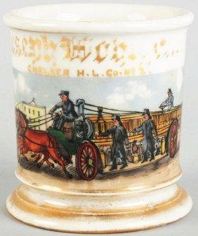 16: Horse-Drawn Fire Wagon Shaving Mug.