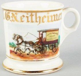 19: Horse-Drawn Liquor Wagon Shaving Mug.