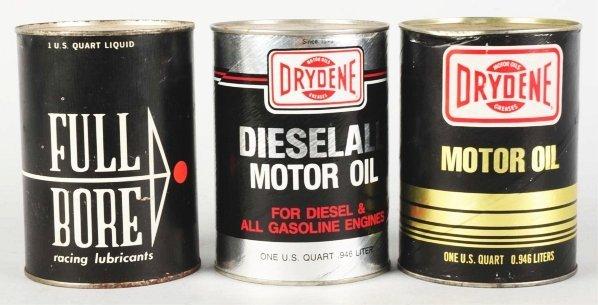 480: Lot of 2 Drydene & 1 Full Bore Oil Cans.