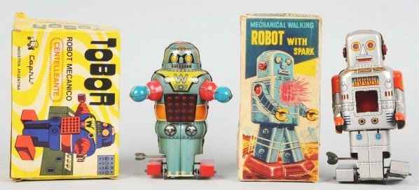 1015: Lot of 2: Tin Robot Toys