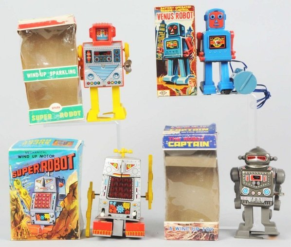 1017: Lot of 4: Robot Toys.