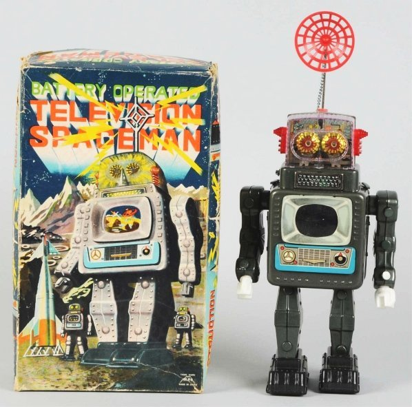 1047: Tin Litho Battery-Operated Television Spaceman.