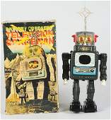 1048 Tin Litho BatteryOperated Television Spaceman