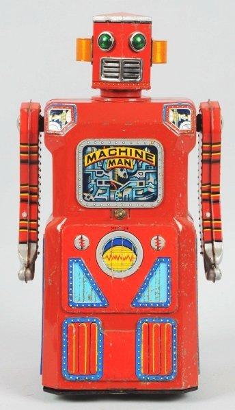 1091: Tin Litho & Painted Machine Man Robot.