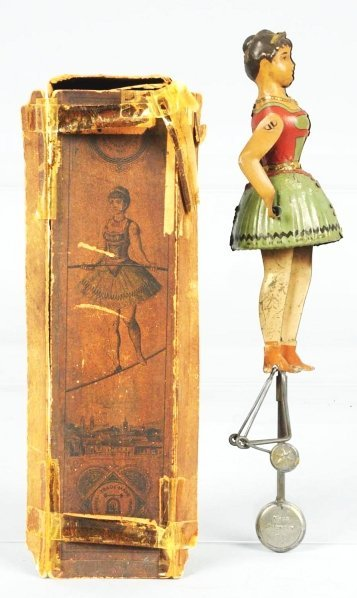 1437: Tin Lehmann Miss. Blondin Tightrope Walker Toy.