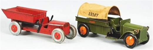 1879 Lot of 2 Pressed Steel Structo Truck Toys