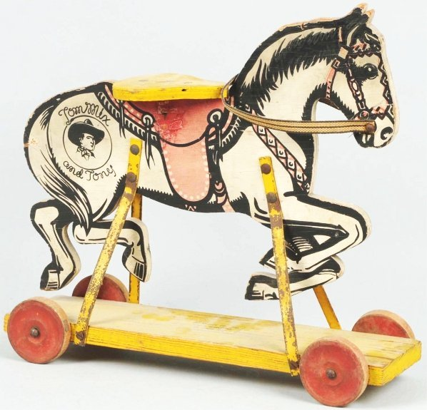 1906: Tom Mix & Tony Mengel Co. Horse Toy On Wheels.