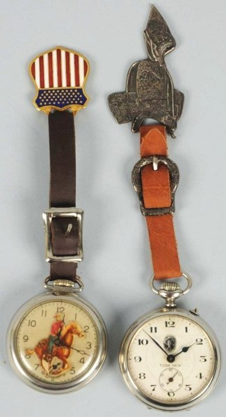 1907: Lot of 2: Tom Mix Fantasy Pocket Watches.