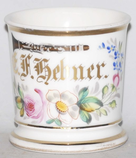19: Clarinet Player Floral Shaving Mug.