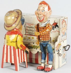 266: Tin Litho Unique Art Howdy Doody Piano Toy.
