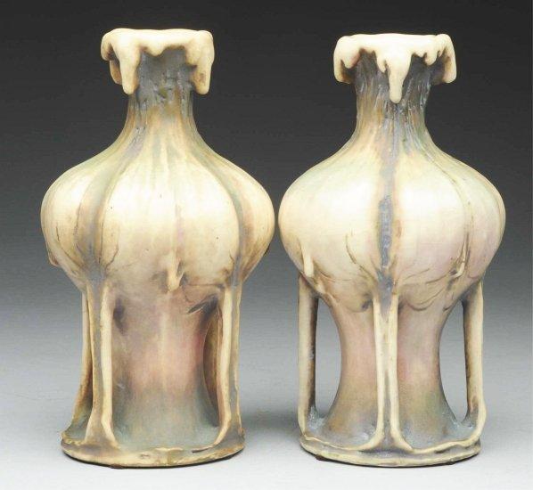 """16: Pair of Amphora Ceramic Organic """"EDDA"""" Vases."""
