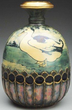 Amphora Ceramic Vase With Duck & Lake Scene.