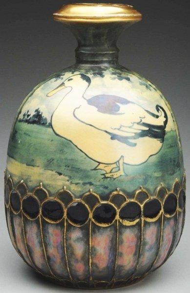 20: Amphora Ceramic Vase with Duck & Lake Scene.