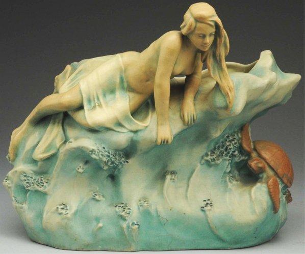 60: Bernard Bloch Vase with Mermaid & Sea Turtle.
