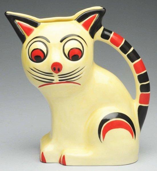 149: Czech Art Deco Pottery Cat Pitcher.