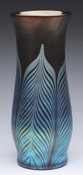279: Loetz Brown Lustre Vase with Silver Blue Feather.