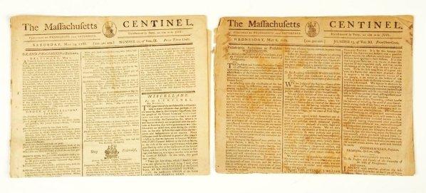369: Lot of 2: 1780s Massachusetts Centinel Newspaper.