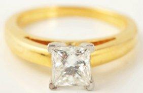 500: 18k Y. Gold Princess Cut Diamond Engagement Ring.