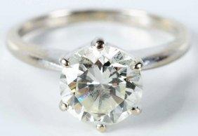 501: 14k White Gold Diamond Solitaire Ring.