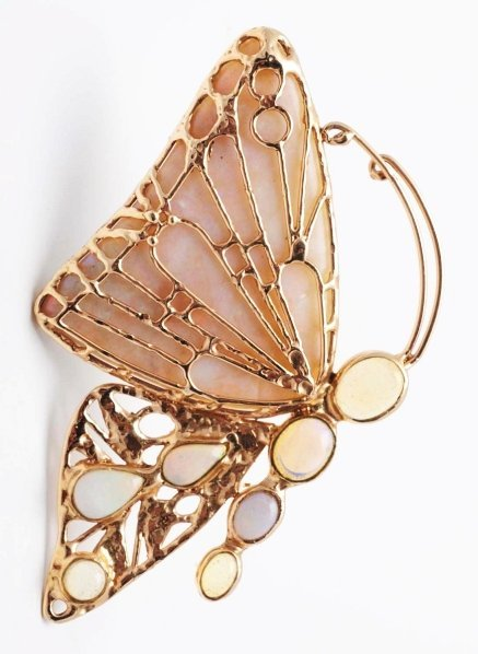 504: 14k Gold Butterfly Brooch with 8 Opals.