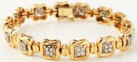 507: 14k Yellow Gold Diamond Bracelet.