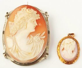 Lot Of 2: Gold Cameos.