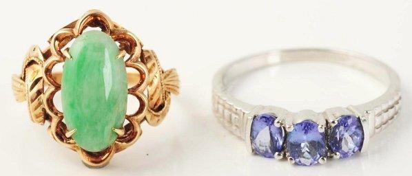 515: Lot of 2: Tanzanite & Jade Rings.